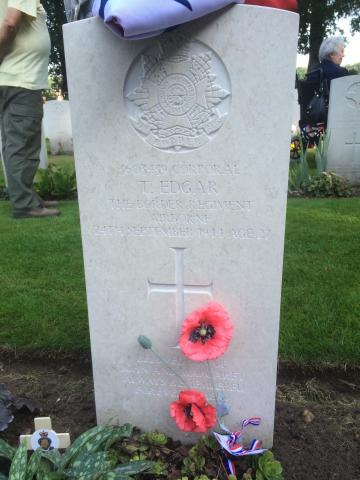 Headstone of Cpl Thomas Edgar. Arnhem Oosterbeek War Cemetery.