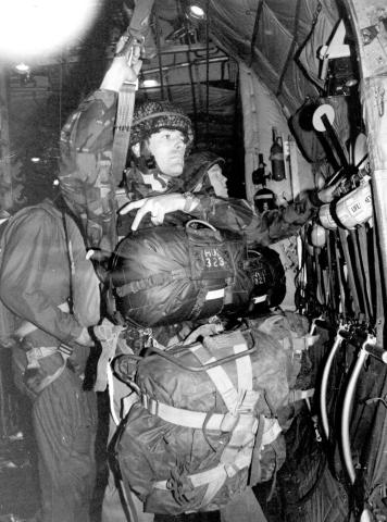 Lt Col PR Butler preparing to exit aircraft