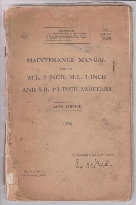 2, 3 & 4.2 inch Mortar Manual. September 1946.