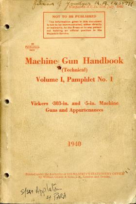 Vickers Machine Gun Handbook. 1940.
