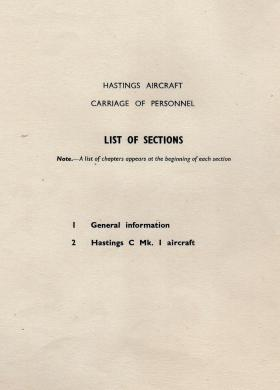 Handley Page Hastings Aircraft - Carriage of Personnel Manual