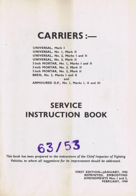 Universal Carrier. Operation and Maintenance Manual.