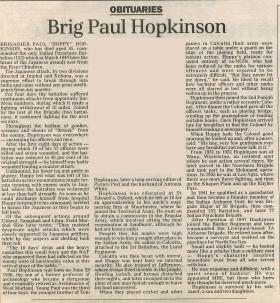 Obituary for Paul Hopkinson.