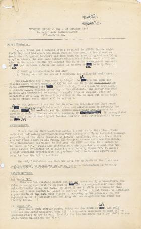 Maj Tatham Warter's Evasion Report. 2nd Para Bn.