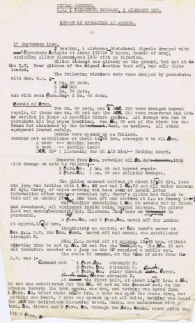 Report on Signals at Arnhem.