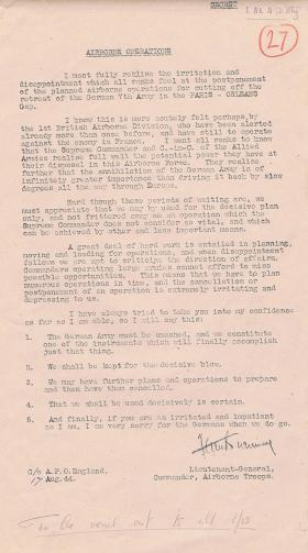 Letter from Browning to all airborne troops. August, 1944.