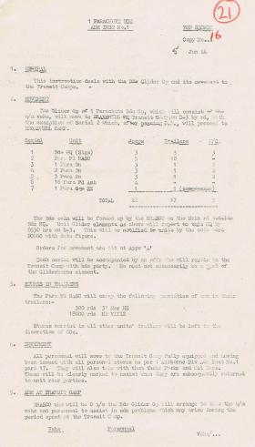 1st Parachute Brigade. Admin Instructions 1 - 3. June , 1944.