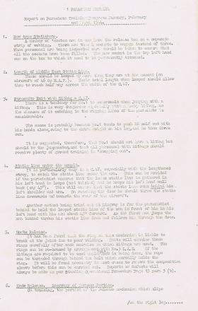 Report on Parachute Training. January - March, 1944.