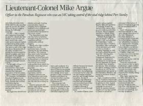 Obituary for Lt-Col Mike Argue.