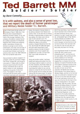 Ted Barrett MM - An Obituary by Dave Connolly March 2001