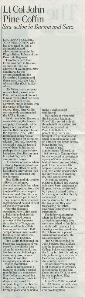 Obituary for John Pine-Coffin.
