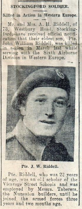 Pte Riddell's obituary, Midland Daily Tribune, dated 18 April 1945.