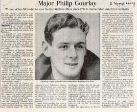 Obituary for Major James Gourlay MC, Daily Telegraph 2 October 1997.
