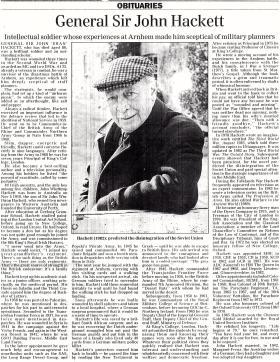 Obituary for John Hackett.