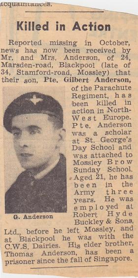 Newspaper article reporting the death of Pte Glibert Anderson