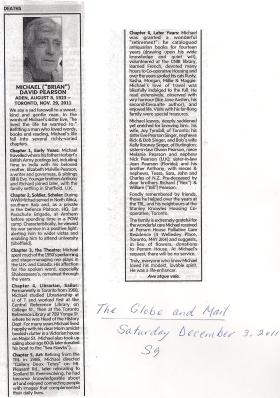 Obituary for Michael D Pearson from The Globe and Mail, Canada's national newspaper, 3 December 2011.