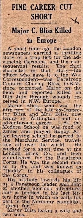 Obituary for Major Colin Bliss