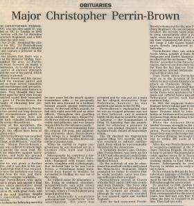 Obituary for Christopher Perrin-Brown.