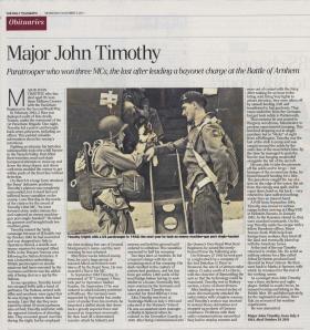 Daily Telegraph Obituary for Major John Timothy