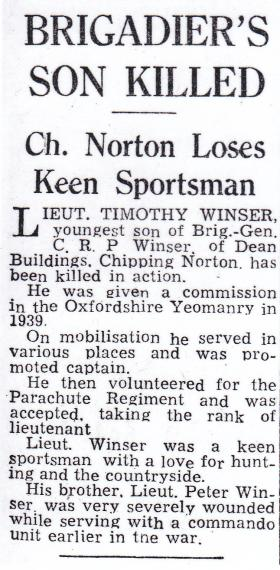 Newspaper article on the death of Lt Timothy Winser, Oxford Mail, 18 January 1945.