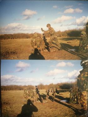 10 Para Mortars live firing, Salisbury Plain, 1998.