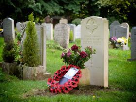 Grave of Cpl Keith McCarthy. Beckington Churchyard, 2018.