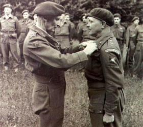 Colonel RG Parker receiving DSO from Field Marshall Montgomery