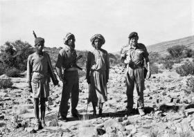 Lt John Ayres on patrol in the Jebel, Oman, with members of B Coy, Northern Frontier Regiment, ROA.