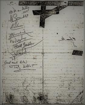 Signatures of those present on 22 October 1944 before their escape in what was Pegasus I.