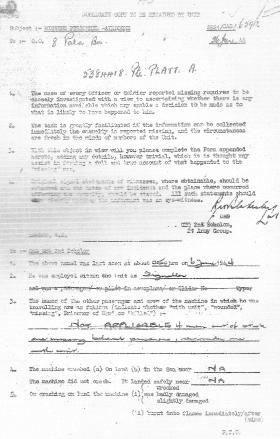 Pte Platt's Missing Personnel Document