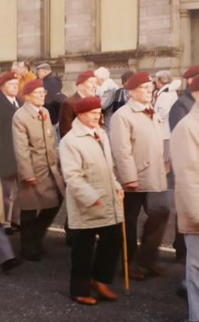 Pte Les Morgan marches with Liverpool PRA. Date unknown.