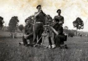Mortar team posed photo at Kletsin near Wismar. 1945.