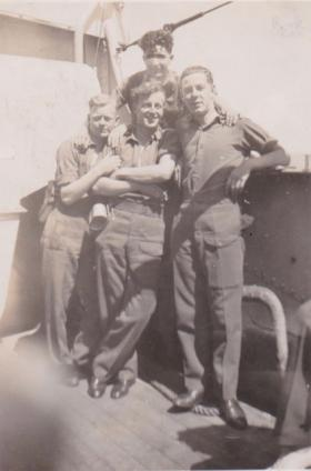 Pte Charles Carter and friends en route to Palestine. 1947.