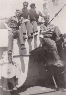 Pte Darbyshire and friends en route to Palestine. 1947.