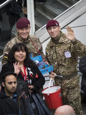 Troops takeover Liverpool Street station on London Poppy Day