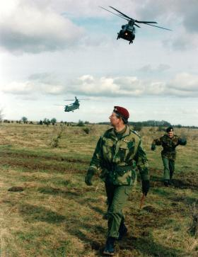 HRH The Prince of Wales on a visit to 1 PARA. Copehill Down, 1999.