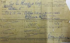 Leave pass for Albert J Holtom. December, 1944.
