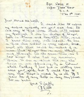Letter of condolence from Sgt F Webb. 1945.