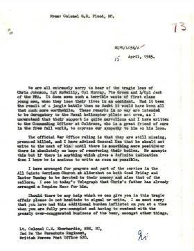 Letter of condolence from Col Flood to Col Eberhardie.
