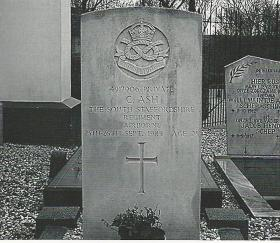 Grave of Pte Clarence Ash. Churchyard of the Reformed Willige Langerak.