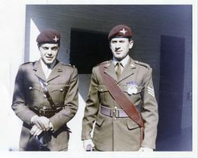 Lt John Crosland & C/Sgt John Harvey. Para Depot, Aldershot. 1970.
