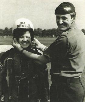 WOII (CSM) Al Lawrie and daughter 'Toni' with the 'Red Freds' Freefall Parachute Display Team.
