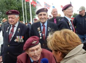 Philip Ward with old comrades. Merville Battery, 2018.