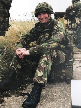 John Handford after a parachute jump as Commanding Officer.