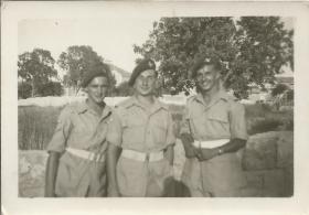 Cpl E Sellers and friends. Haifa, June 1946.