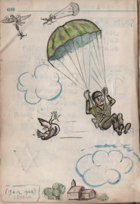 Cartoon by Lt. Ted Peirce B Coy 5 Para