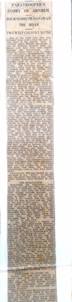 Newspaper cutting L/Cpl William Brittain in Arnhem