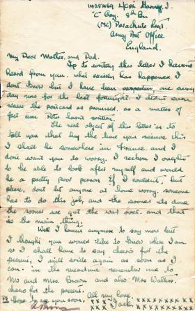 Final letter home, written by John T Harvey