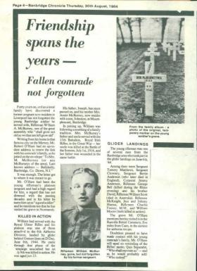 Newspaper cutting of William Ashwood McBurney