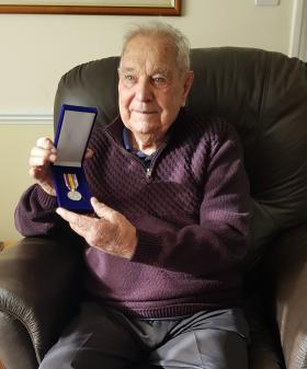 Bill Larder with Arnhem 75 Anniversary Commemorative Medal